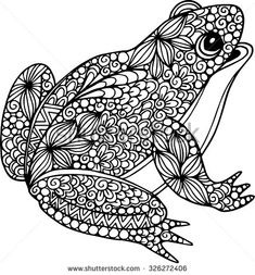 Hand drawn ornamental doodle frog illustration with zentangle ornaments - stock vector