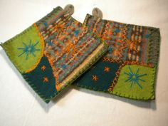 Handmade Potholders made from repurposed materials, Felted wool sweaters