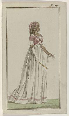 Journal des Luxus und der Moden, T Georg Melchior Kraus, 1796 - Rijksmuseum Regency Dress, Regency Era, Europe Fashion, Fashion History, Fantasy Gowns, 18th Century Fashion, Historical Clothing, Fashion Plates, Journal