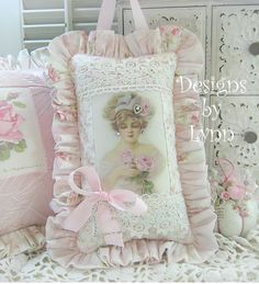 Pink  Lady Victorian Lace Ruffled  Sachet Pillow Designs By Lynn-pink, roses, shabby, chic, ruffles, Victorian, Vintage, Lynn,PINK,Lady,