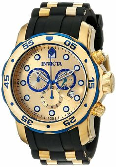 601c4af9c30b Reloj Invicta Gold Crystal Hombre Watch Bracelet Rubber Steel Case Oro  Plata Arm  Invicta