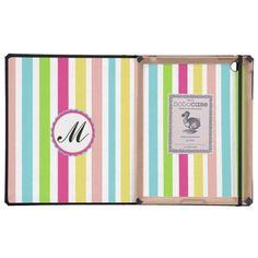 Custom Monogram Striped Case iPad Cover colorful