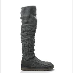 "UGG over the knee twisted cable knit boots Sz 7 UGG over the knee twisted cable knit boots Sz 7 NEW 100% authentic style 3174 QR READER SCANNABLE TAG TO PROVE AUTHENTICITY Twisted-cable texture updates a cozy knit boot topped with a wide, ribbed cuff.  Pull-on style. Approx. boot shaft height: 20 1/2"" cuffed, 24 1/2"" uncuffed; 11"" calf circumference. Stretches to fit wide calves. Cotton upper/genuine shearling and textile lining/EVA sole. UGG Shoes"