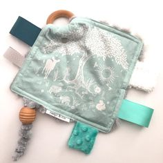 Handmade baby sensory toy by @fabricandfox featuring Anu fabric by Hawthorne Threads