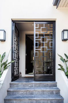 Rustic double entry doors entry contemporary with vestibule modern entry door modern entry door metal door House Entrance, Entrance Doors, Entrance Ideas, Patio Doors, Door Ideas, Door Entryway, Foyer, Entry Gates, Modern Entry Door