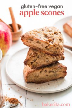 Meet your new fall favorite: these Gluten-Free Vegan Apple Cinnamon Scones are tender, flavorful, and simply irresistible. This is the perfect gluten free vegan apple recipes for fall! #fallrecipes #applerecipe Vegan Baking Recipes, Apple Recipes Easy, Vegan Dessert Recipes, Gluten Free Baking, Vegan Snacks, Fun Desserts, Vegan Gluten Free, Gluten Free Recipes, Delicious Desserts