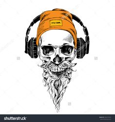 Skull with beard, mustache in the hipster hat and headphones. Vector illustration.