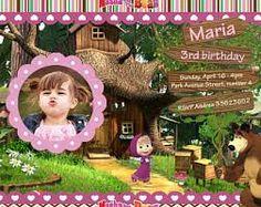 Resultado de imagen para tarjetas de invitacion de masha y el oso en zazzle