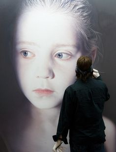 "pikeys:    Gottfried Helnwein working on ""The Murmur of the Innocents"", 2009"