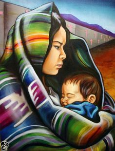 Laurita Tortolita - Mexican mother and child. Mexican Artwork, Mexican Paintings, Mexican Folk Art, Mexican Artists, Airbrush Art, Hispanic Art, Latino Art, Mexican Heritage, Mexico Art