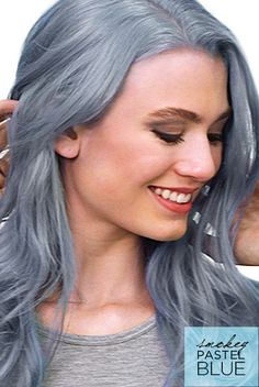 DIY pastel blue hair with Feria Smokey Pastels dye. Soft, dusty color with smokey undertones.