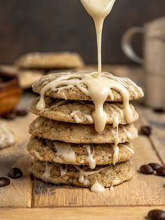 The BEST soft & chewy Vegan Coffee Cookies filled with espresso, vanilla bean, and topped with a vanilla icing. These chewy sugar cookies are dairy-free, eggless, and only require 1 hour of chill time. Rich & espresso cookies everyone will love! #sgtoeats #coffeecookies #espressocookies #vegansugarcookies Vegan Sugar Cookies, Dairy Free Cookies, Easy Vegan Cookies, Chocolate Chip Cookies, Best Vegan Desserts, Vegan Dessert Recipes, Cookie Recipes, Coffee Cookies, Roll Cookies