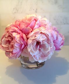 Fine Silk Floral Arrangement Faux Mixed Pink Peonies with
