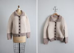 1970s vintage chunky wool taupe sweater by allencompany on Etsy, $50.00