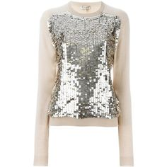 Emilio Pucci sequin embellished jumper (2.430 RON) ❤ liked on Polyvore featuring tops, sweaters, nude, sequined sweater, sequin embellished top, emilio pucci, white jumper and white tops