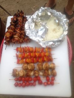 Teriyaki marinated chicken kabobs with veggies and Jasmine rice grilled over a campfire