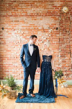 galactic wedding with a navy bridal gown - photo by Candice Benjamin Photography http://ruffledblog.com/galactic-wedding-with-a-navy-bridal-gown #wedingideas #weddingphotography