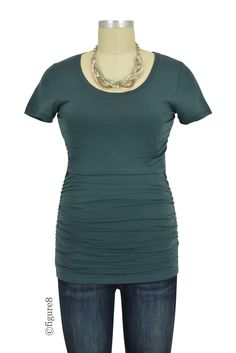 Boob Design Short Sleeve Ruched Nursing Top in Teal.  Please use coupon code NewProducts to receive 15% off these items. To receive the discount, please place your order by midnight Monday, September 5,2016