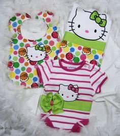 Hello Kitty Baby/Shower Gift Set: Onesie, Bib, Burpee for Baby Girls by FairyTale Frocks. $42.00, via Etsy.