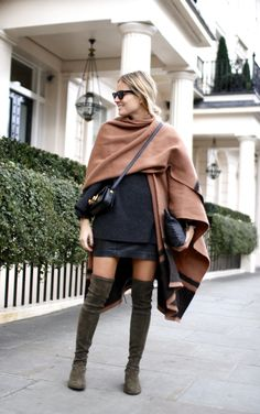 Blanket | Club Monaco Knit | Theory Boots | Stuart Weitzman via Russell & Bromley Skirt | H&M Bag | Saint Laurent Clutch | J.Crew Sunglasses | Rayban Silver bangle | Thomas Sabo Rose gold ring | Thomas Sabo Wavy rose gold ring | Thomas Sabo Watch | Larsson & Jennings
