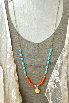 Mia. bohemian,colorful,long, beaded, layered,charm necklace. Tiedupmemories