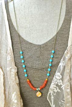 Mia. bohemian,colorful,long, beaded, layered,charm necklace. Tiedupmemories
