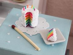 Dollhouse miniature desserts - Miniature rainbow birthday cake