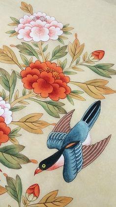 Korean Art, Asian Art, Tibet Art, Asian Flowers, Korean Painting, Drawing Sketches, Drawings, Vintage Birds, Butterfly Art
