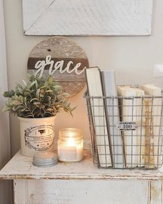 Lovely Grace sign with end table display in a farmhouse/shabby chic style #shabbychicideasinspiration