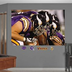 Fathead Minnesota Vikings Line In Your Face Mural - Wall Sticker Outlet