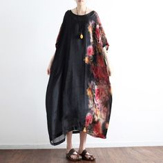2017 black prints silk dresses plus size sundress patchwork short sleeve maxi dressThis dress is made of cotton linen fabric, soft and breathy, suitable for summer, so loose dresses to make you comfortable all the time.Flattering cut. Makes you look slimmer and matches easlily. Fabric:silkMeasurement:One size fits all for this item. Please make sure your size doesn't exceed this size: BUST-166cm bust 166cm / 64.74
