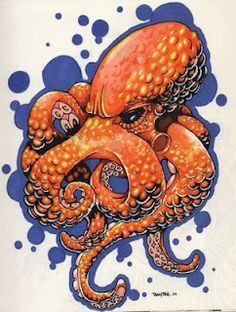 Orange Octopus done with prismacolor markers by danny silva.
