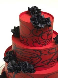 Design Wedding Cakes and Toppers: Three Tier Red Wedding Cake With Black Roses
