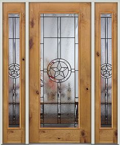 Rustic Knotty Alder Wood Door Perfectly Compliment The Texas Star Glass  Design