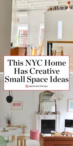 The small NYC apartment is just 600 square feet, but the 13-foot ceilings and white wooden floors make it appear much larger. And there are exposed beams, a soaking tub, and a working fireplace in this remodeled space. #smallspaces #nycloft #smallspaceideas #livingroomideas #minimalist #minimalistdecor #moderndecor #loftideas Loft Spaces, Small Spaces, White Wooden Floor, Apartment Goals, Apartment Therapy, Danish Design Store, Exposed Beams, My Furniture, Mid Century House