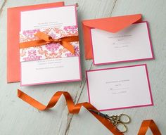 Pink and orange wedding invitation Orange Wedding Invitations, Wedding Invitation Kits, Invitation Design, Invitation Ideas, Invitation Suite, Wedding Stationary, Orange And Pink Wedding, Fuschia Wedding, Orange Weddings