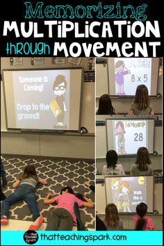 Get students up and moving with these Memorization in Motion flashing whiteboard games! These interactive games flash multiplication facts on the board and students try to answer before the answer pops up. Fun movements with music are scattered throughout so students can take a fun brain break. Perfect for warm ups, centers, or whole group activities!