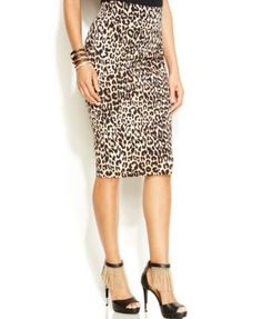 Thalia Sodi Leopard-Print Pencil Skirt - so happy short skater skirts are gone and long pencil skirts are here!!!