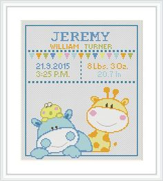 Cross Stitch Pattern baby Birth announcement Animal by Xrestyk