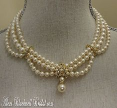 Items similar to COMPLETE Bridal Jewelry Set Pearl Necklace Bracelet Earrings 3 strand Swarovski pearls Vintage Edwardian Victorian Ivory gold wedding sets on Etsy - New Ideas Wedding Necklace Set, Pearl Necklace Set, Dainty Diamond Necklace, Bridal Earrings, Diamond Jewelry, Bridal Jewelry Sets, Wedding Jewelry, Beaded Jewelry, Beaded Necklace