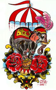 vintage elephant tattoo