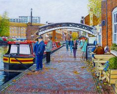Gas Street Canal Basin in Birmingham OIl Painting on canvas by Roger Turner. Cityscape painting of the canal in Birmingham. Oil Painting Flowers, Oil Painting Abstract, Painting Art, Best Jigsaw, Acrilic Paintings, Modern City, Puzzle Art, Paintings For Sale, Landscape Paintings
