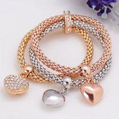 Wholesale Sweet Rhinestone Heart Layered Women s Bracelet Only  2.44 Drop  Shipping  fd21846fbe3e