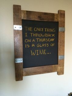 Wine Barrel Stave Chalkboard Sign by WineyGuys on Etsy Barrel Projects, Metal Projects, Wine Barrel Crafts, Barris, Wine Barrel Furniture, Chalkboard Signs, Chalkboards, Wine Craft, Wine Decor