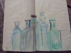 water color of old bottles in my art journal by artist Toni Reese.