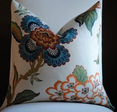 NEW Beautiful  FLORAL Decorative Pillow Cover- Hot House Flowers-20x20-LINEN-Throw Pillow-Accent Pillow-Blue-Green-Red-Orange-Gold. $80.00, via Etsy.