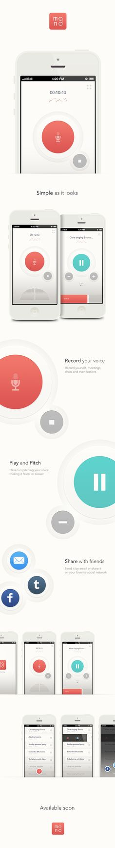 MONO iPhone app by Franco Roncoroni and Steve Buffoni, via Behance