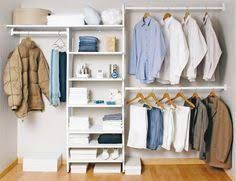 "DL's Closet-Coaching Note: ""The Minimalist! The right pieces expand a wardrobe multifold while keeping dressing simple. Closet Built Ins, Wooden Wardrobe, Declutter, Organize, New Room, Decoration, Shelves, House Design, Storage"