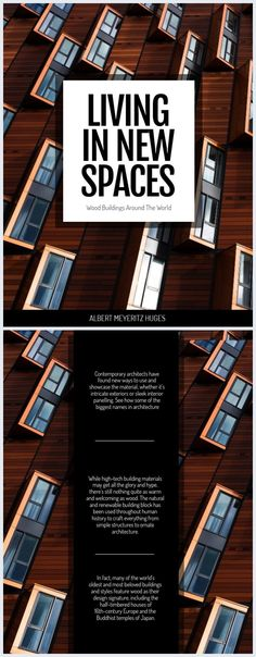 This appealing architecture book cover template is perfect for showcasing wood buildings around the world. With a very aesthetically pleasing image on the front cover and big black bold font text, this template is suitable for art catalogs, architecture and design projects. Fully editable, you can get creative by playing with typography, colors and even replace the background image with one of yours. Wooden Architecture, Bold Fonts, News Space, Cover Template, Big Black, Design Projects, Buildings, Typography, Templates
