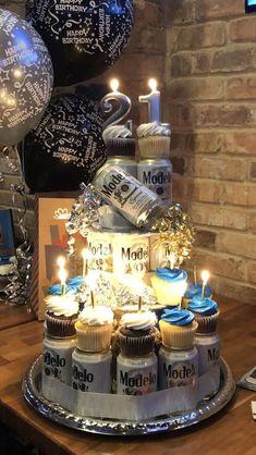 Beer Birthday Party, 21st Birthday Cakes, 40th Birthday Parties, Man Birthday, Beer Birthday Cake For Men, Men Birthday Gifts, Birthday Cocktail, 28th Birthday, Birthday Gift Baskets